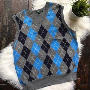J. CREW Pima Cotton Argyle Sweater Vest Men's MED